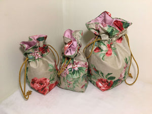 Gift Bag Set (3): red & pink floral on beige with pink satin lining