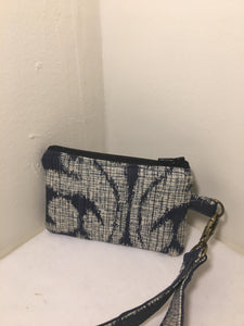 Zipper Pouch / Wristlet: Deep blue with cream colored pattern with cream silk lining