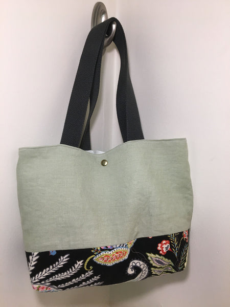 Tote Bag: Light green linen with black paisley bottom with cream muslin lining