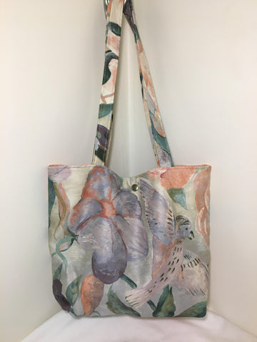 Tote Bag: Multicolored peach & lavender garden theme with peach cotton lining