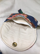 Load image into Gallery viewer, Wrist Pouch: Multicolored floral on blue with cream cotton lining