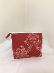 Zipper Pouch: Red & white patterned canvas with red & white checkered cotton  lining