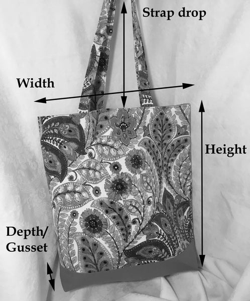 Tote Bag: Black print on white silk with silky black lining