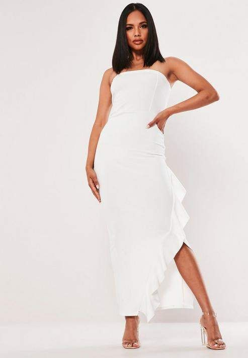 MISSGUIDED Bandeau frill maxi dress white