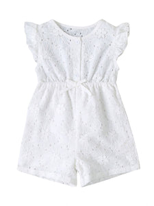 AMELIE Baby Girl Flutter Sleeve Dress in white