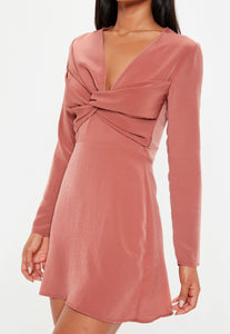 MISSGUIDED Long sleeve cross over front mini dress