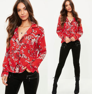 MISSGUIDED Floral Print piping detail pyjama Shirt