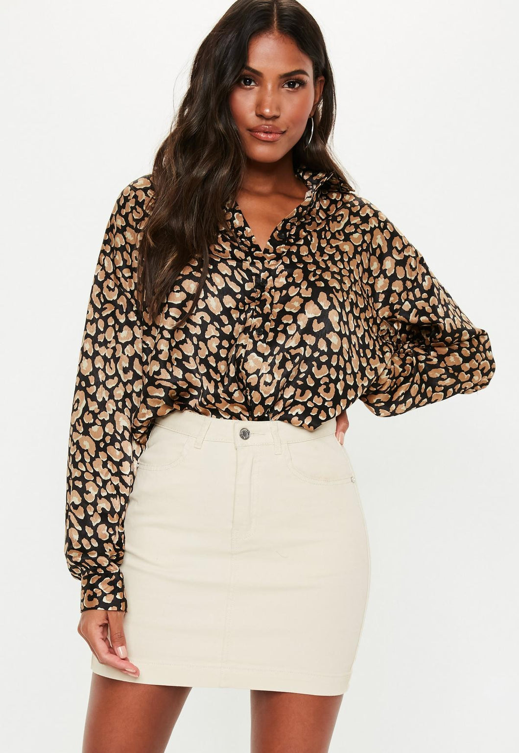 MISSGUIDED Animal Print Satin Shirt