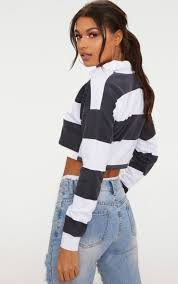 PRETTY LITTLE THING Black Stripe Collar Polo Long Sleeve Crop Top