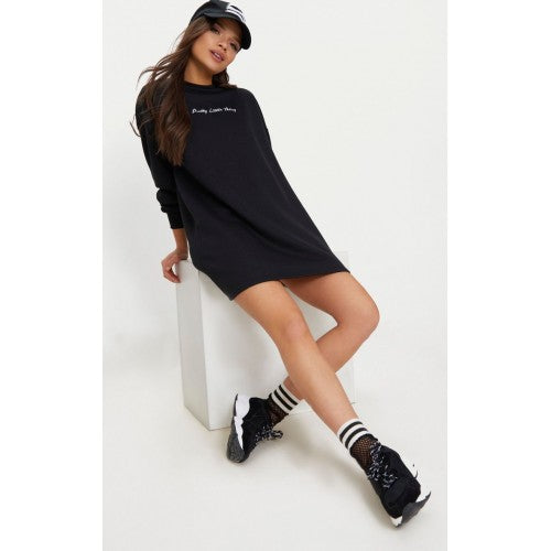 PRETTY LITTLE THING Black Embroidered Sweater Dress