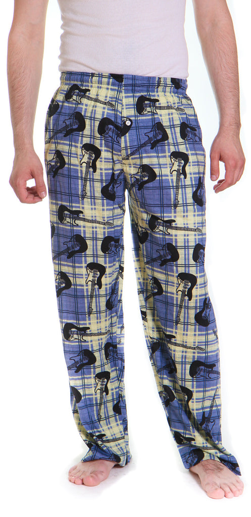 men s plaid guitars pajama pants free shipping