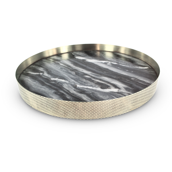 The Orbit Tray - Smokey Marble/Diamond Pattern Brass