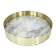 The Orbit Tray -Small White Marble/Polished Brass