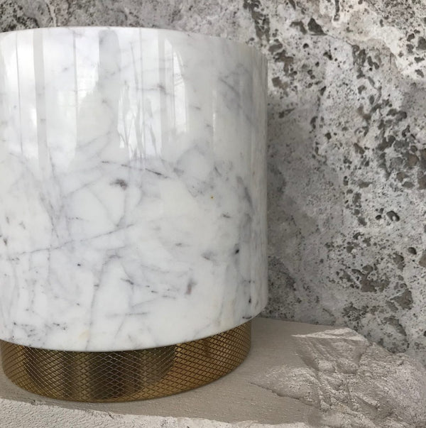 The Fox Ice Bucket -White Marble/Diamond Pattern Brass