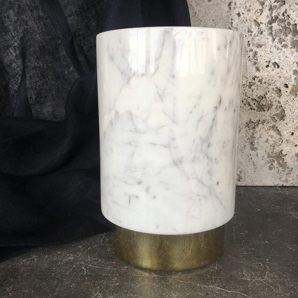 The Ava Champagne Chiller – White Marble/Polished Brass