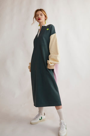 Rugby sweatshirt midi dress