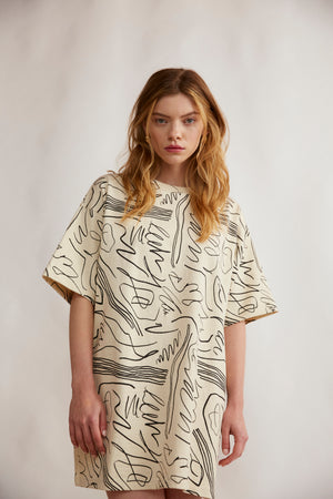 Scribble print heavy tshirt dress