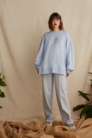 Natural dye oversized sweatshirt with side splits