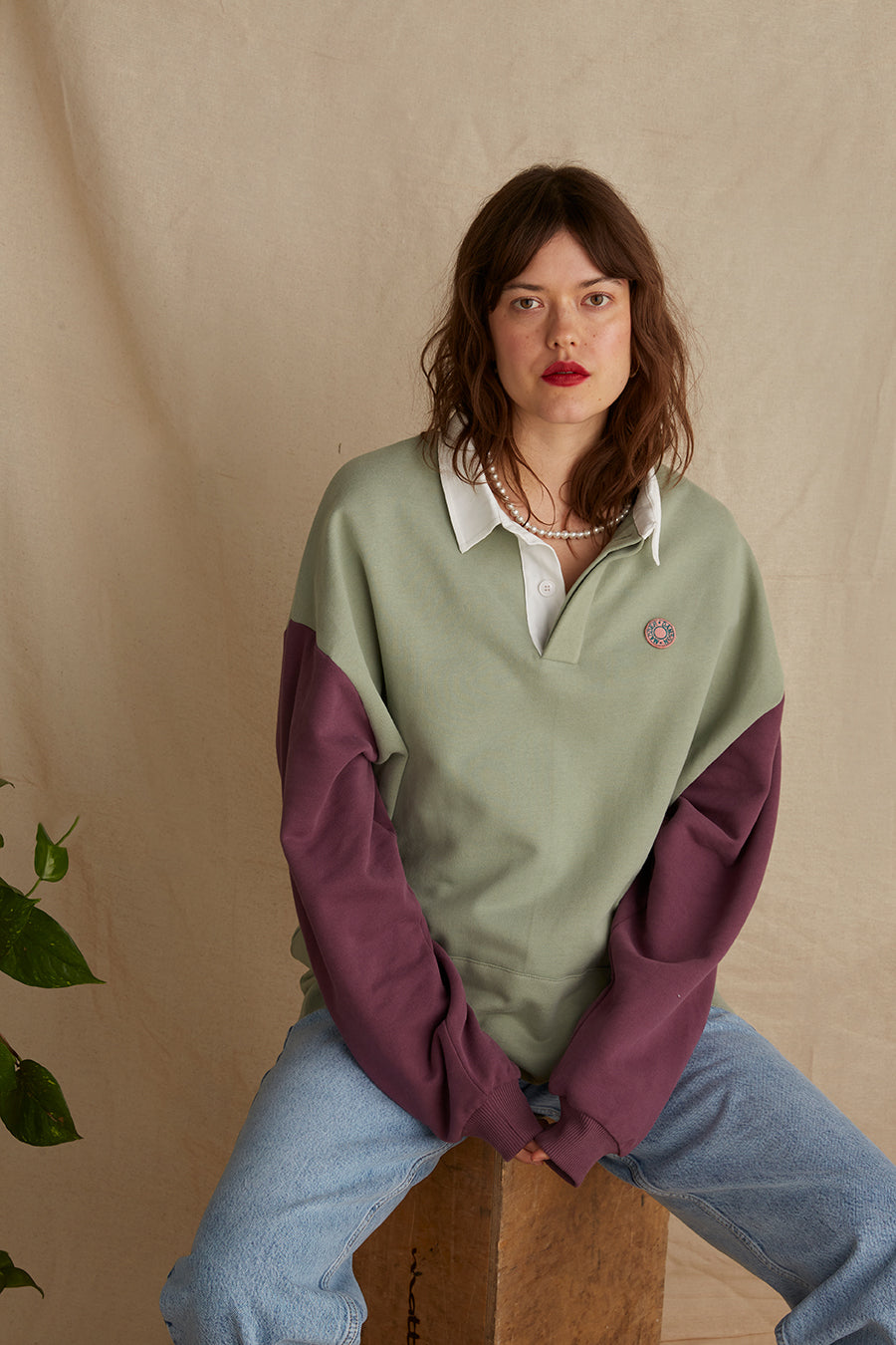 Colour block polo sweatshirt