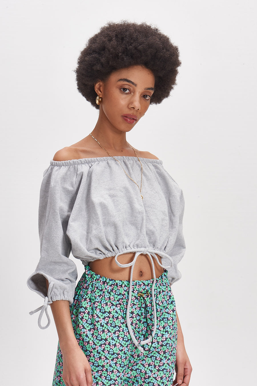 Ruched off shoulder crop sweatshirt