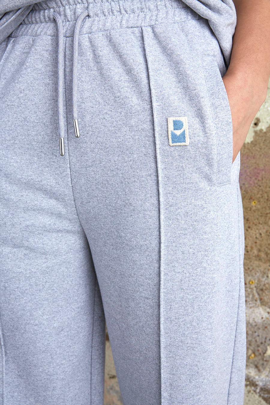Straight leg drawstring joggers in grey