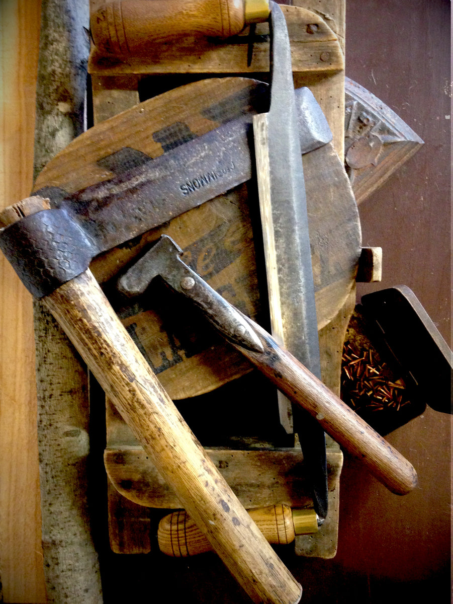 Traditional tools used to hand-craft Sussex trugs