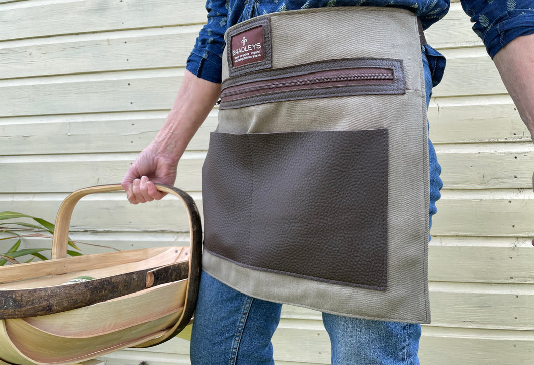 Half Leather & Linen Waist Apron