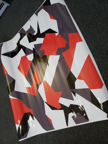 Red Geographic Camo / Camouflage Vinyl Wrap