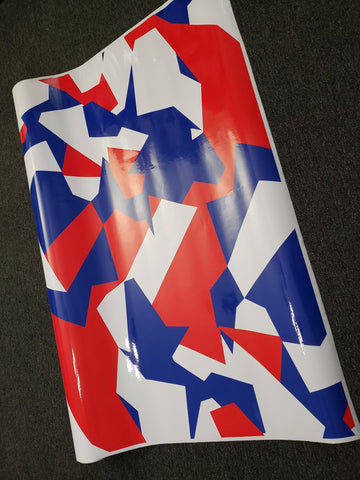 Red, White & Blue Geographic Camo / Camouflage Vinyl Wrap