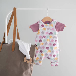 Easy On Off Romper - Lavender Elephant