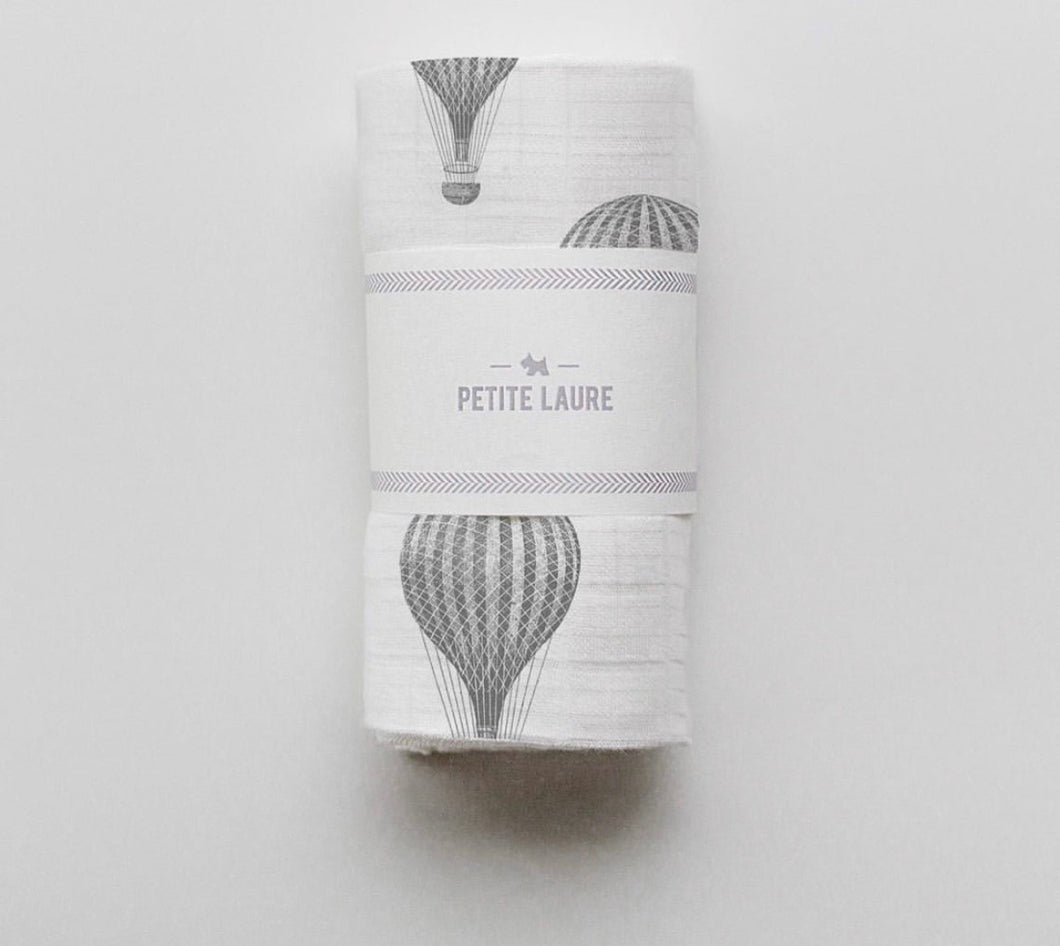 Baby Swaddle Dark Grey Hot Air Balloons