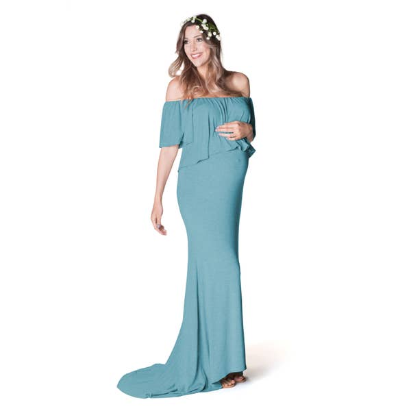 Simply Glowing Maternity Dress - Teal Sky