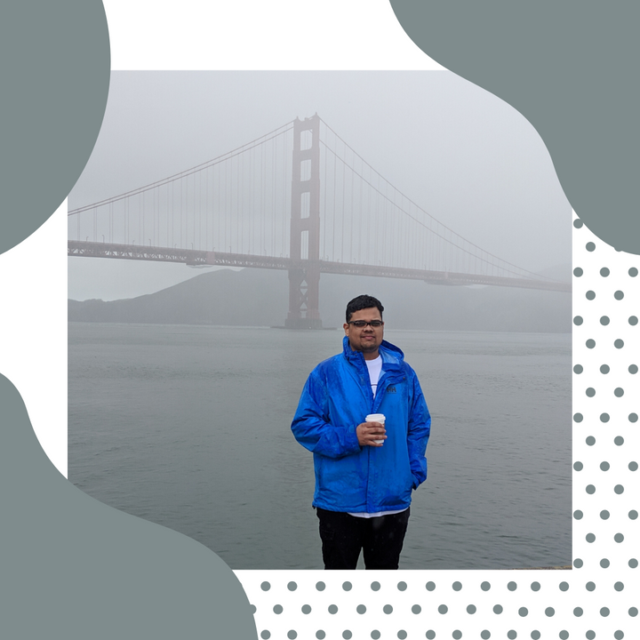 Mohit Kishore an entrepreneur standing in front of the Golden Gate Bridge, California.