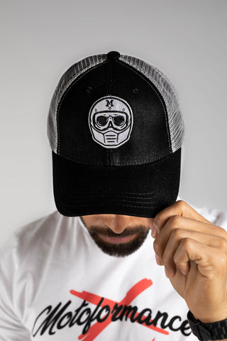 Moto Skull Black And Grey Trucker Cap