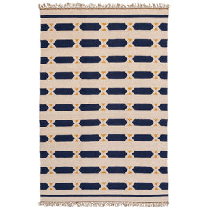 Blue Hexagons Rug