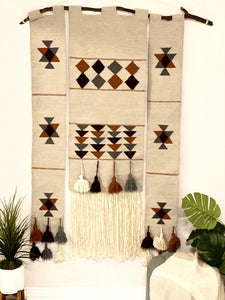 Handwoven Geometric Wallhanging with tassels