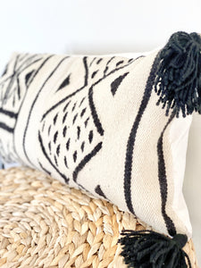 Handwoven Cream Iris Throw Pillow