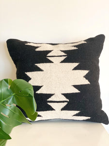 Handwoven Black Lia Throw Pillow