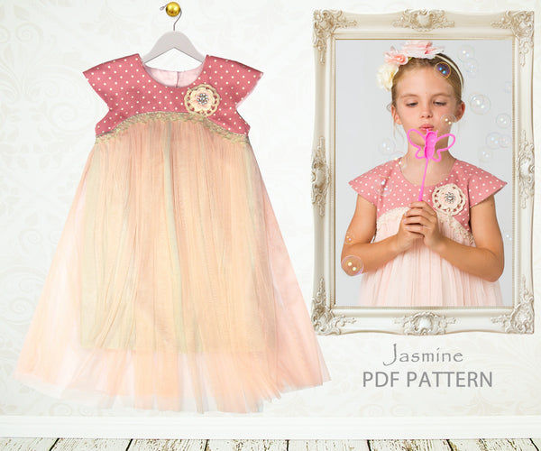 Jasmine Girls Tutu Dress Sewing Pattern