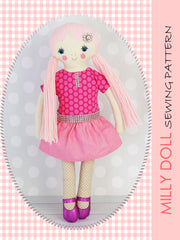 fabric doll sewing pattern Milly