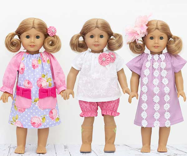 doll clothing sewing pattern, american girl doll dress pattern