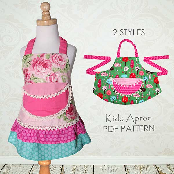 apron sewing pattern, childrens sewing pattern, kids apron pattern