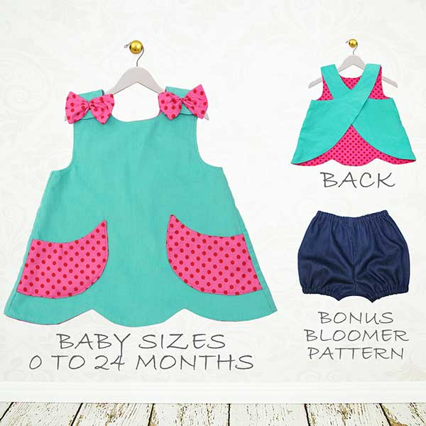 pinafore pattern, baby sewing pattern, bloomers pattern