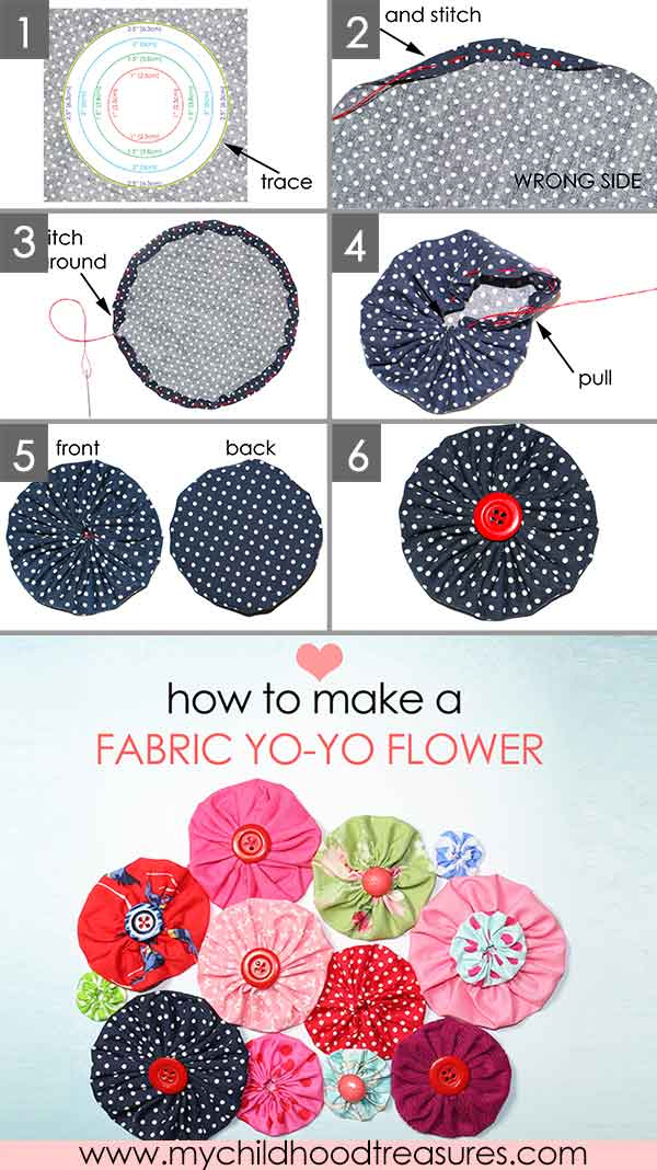 how to make a fabric flower yo yo easy templates included my childhood treasures. Black Bedroom Furniture Sets. Home Design Ideas