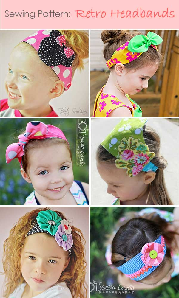 girls headband pattern, retro headband pattern