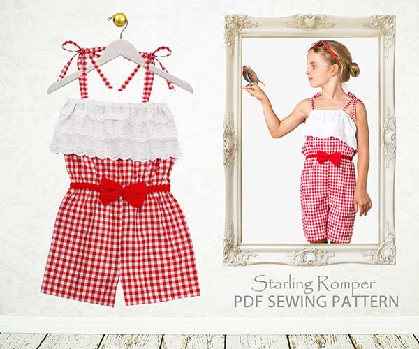 romper sewing pattern, romper pattern, childrens sewing pattern