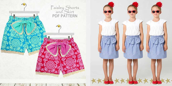 skirt sewing pattern, shorts sewing pattern, childrens sewing pattern