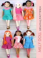 fabric doll pattern, rag doll pattern MILLY