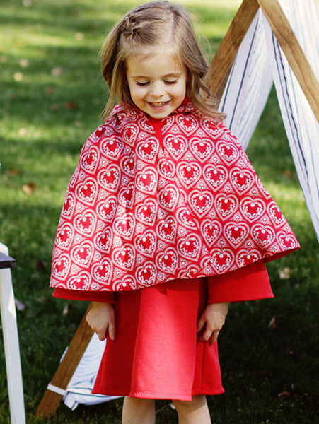 MAISIE - Girls Reversible Cape Pattern, Little Red Riding Hood Applique