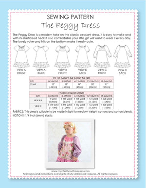 PEGGY - Baby Peasant Dress Patterns